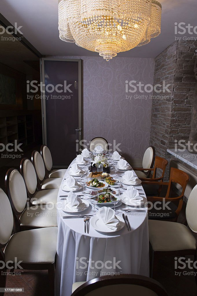 Table arrangement with food for wedding reception royalty-free stock photo