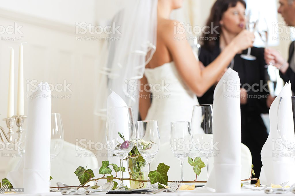 Table at a wedding feast stock photo