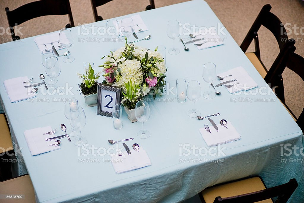 Table at a Wedding Reception stock photo