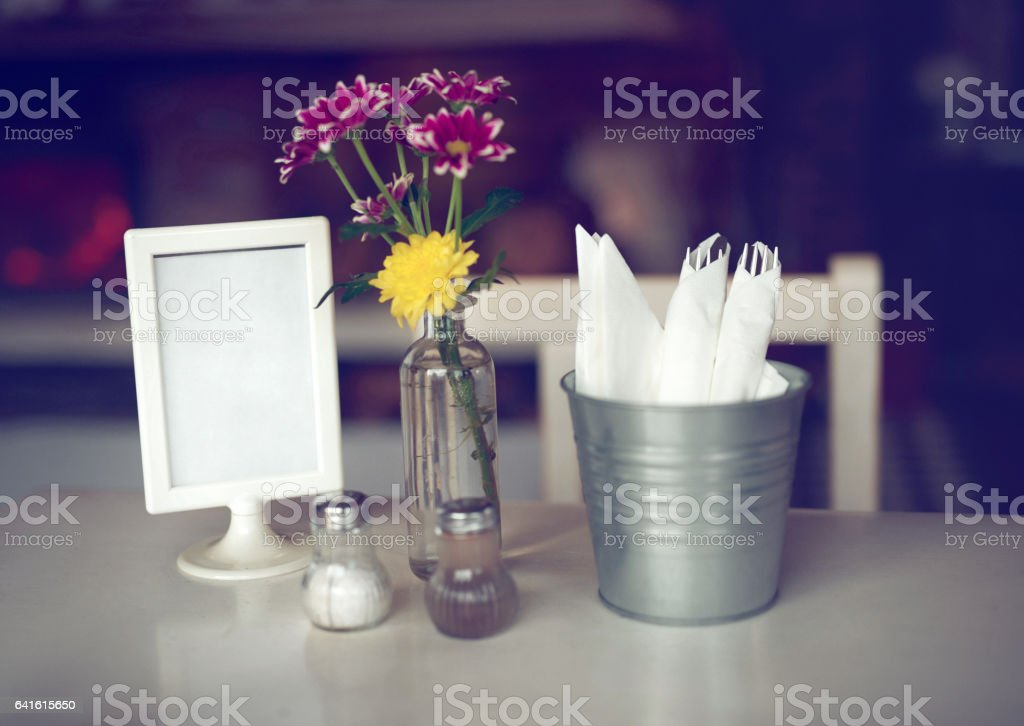 table at restaurant stock photo
