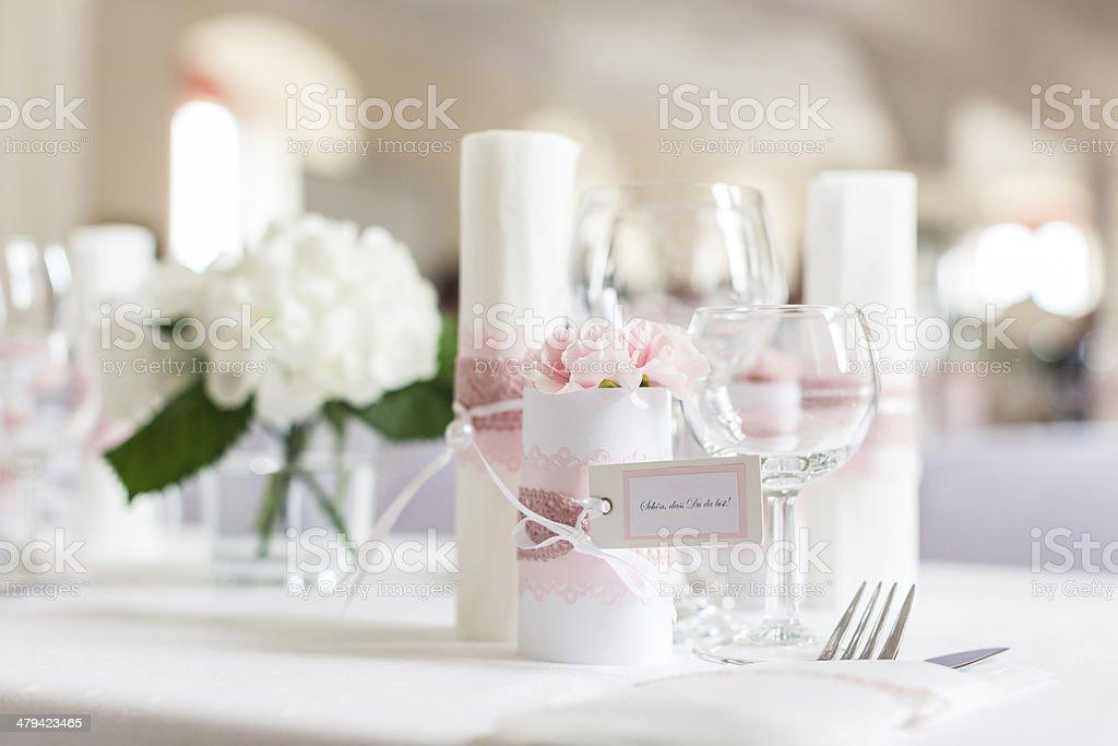 Table at wedding reception stock photo