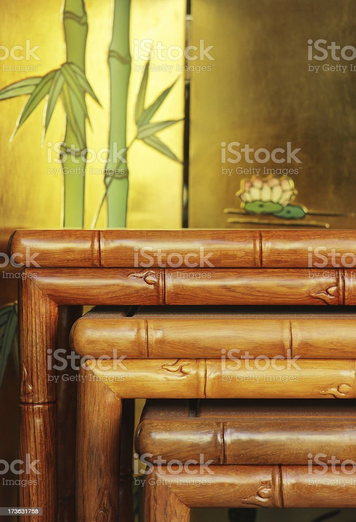 Table Bamboo Furniture Tropical Decor royalty-free stock photo