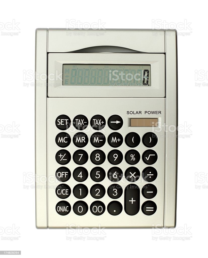 Table calculator isolated on white royalty-free stock photo