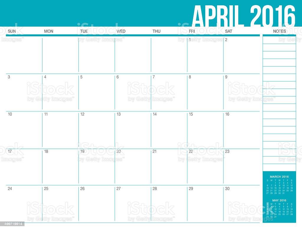 table calendar- April 2016 stock photo