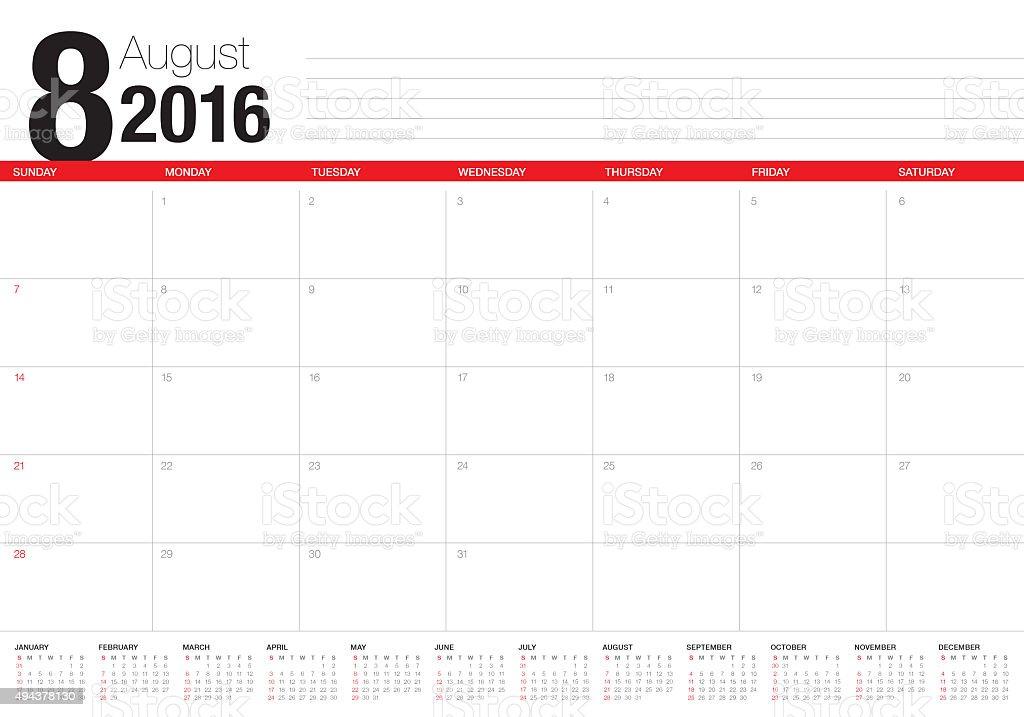 table calendar- August 2016 stock photo