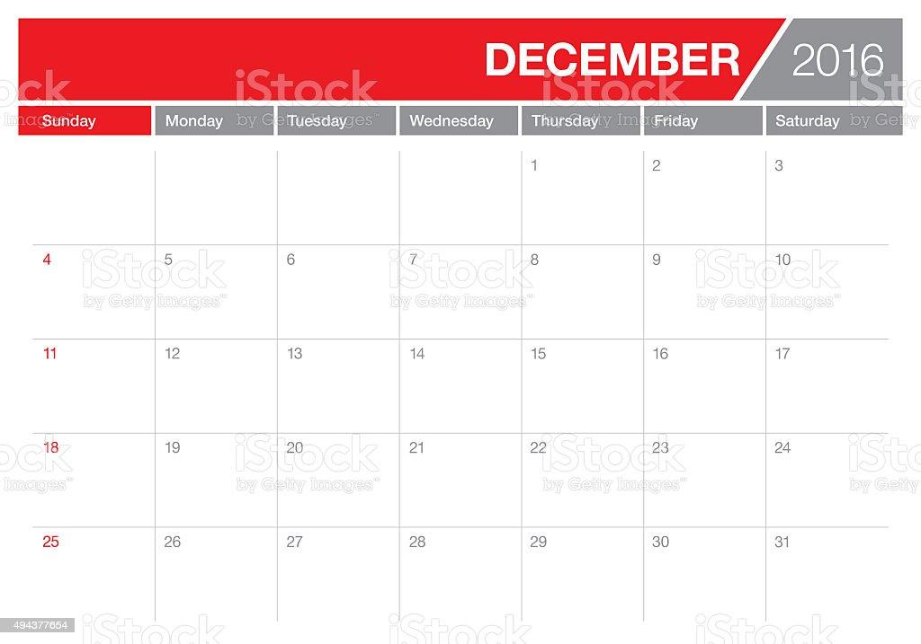 table calendar- December 2016 stock photo
