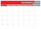 table calendar- November 2016