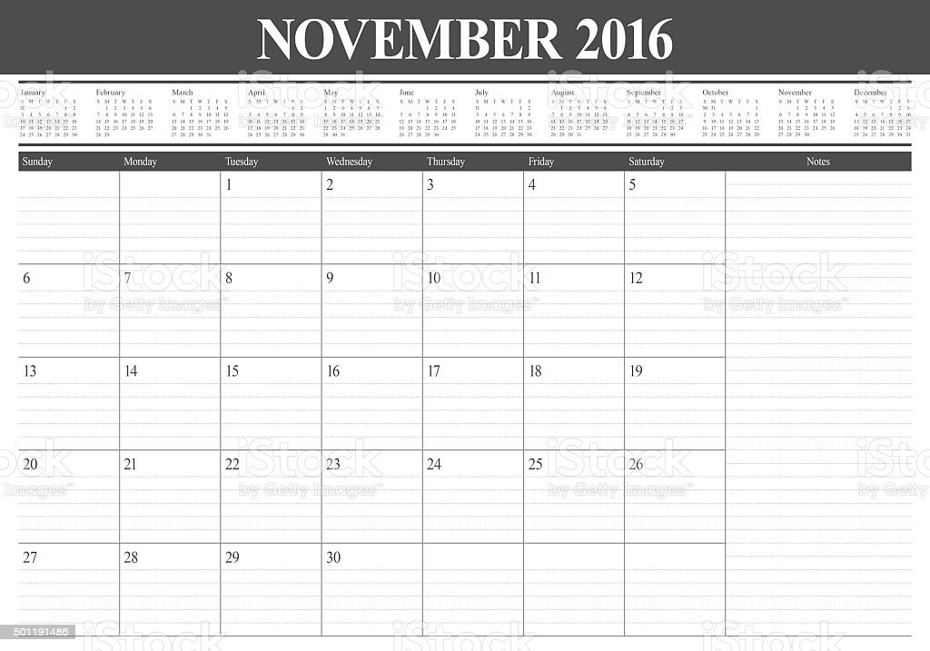 table calendar- November 2016 stock photo