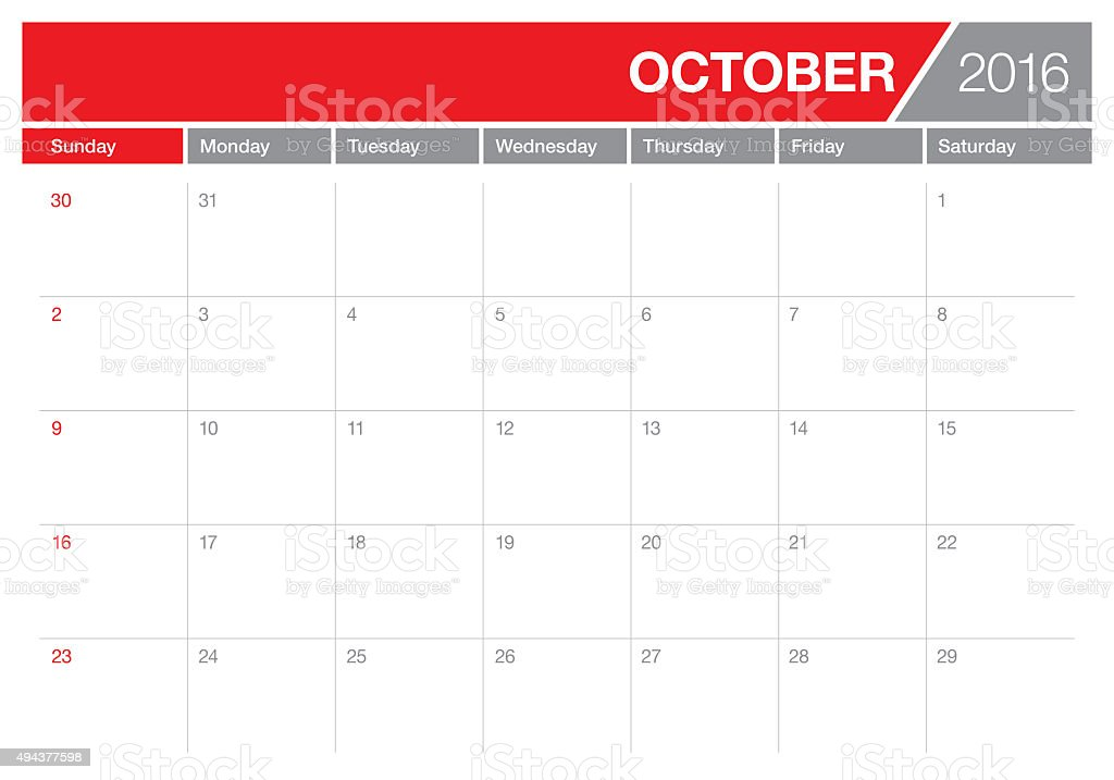 table calendar- October 2016 stock photo