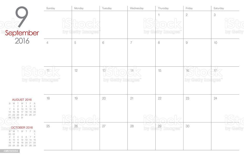 table calendar- September 2016 stock photo