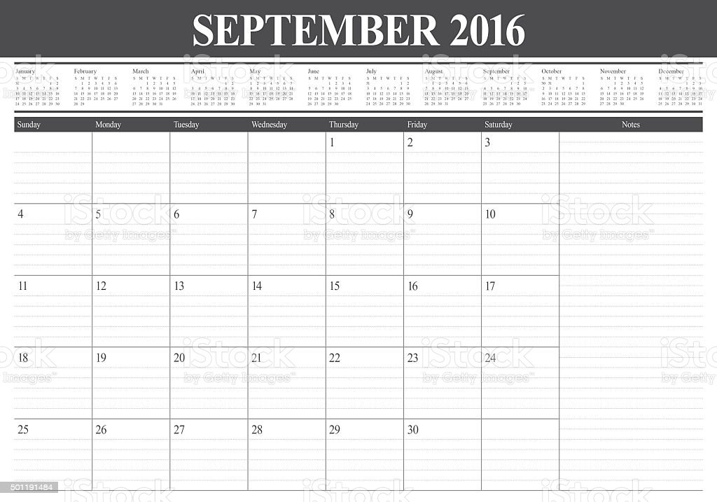 table calendar- September 2016 stock photo