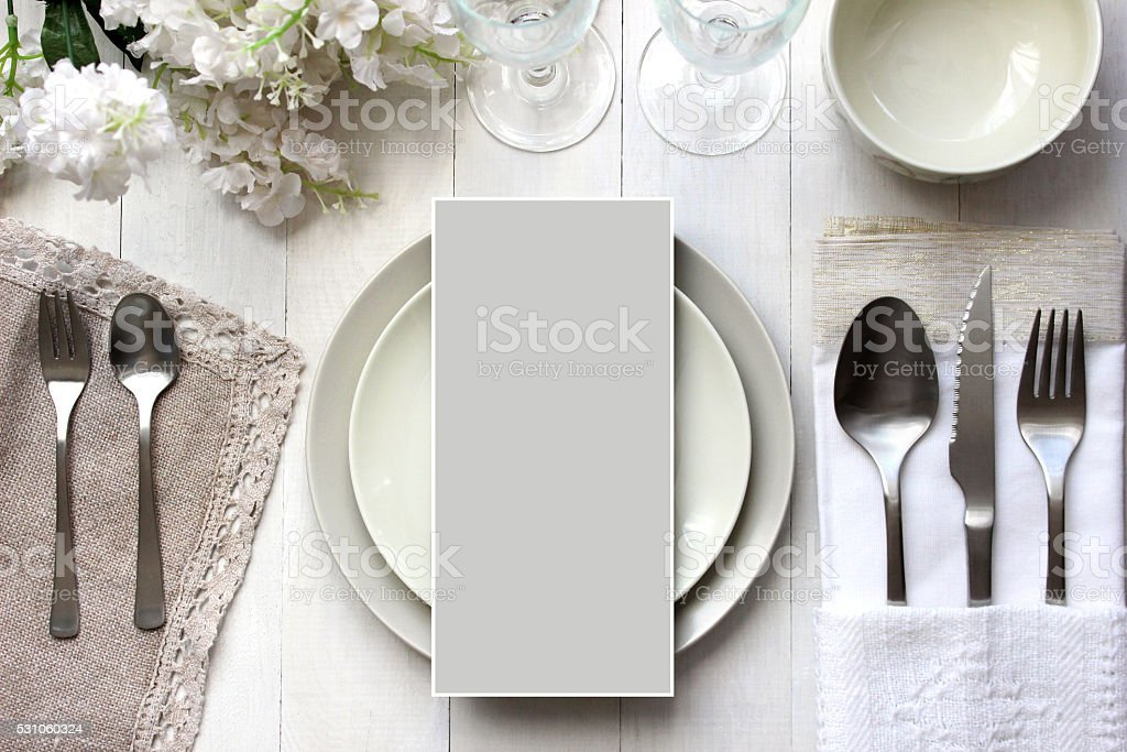 Table card mockup, menu mockup.  Vintage fashion photography. stock photo