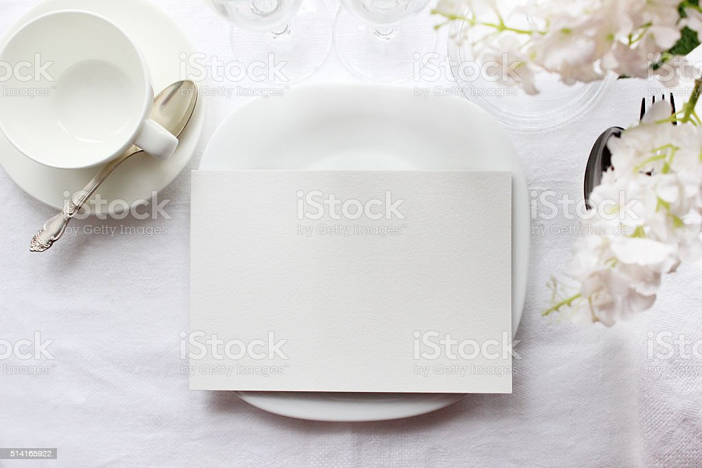 Table card mockup, menu mockup. Wedding fashion photography stock photo