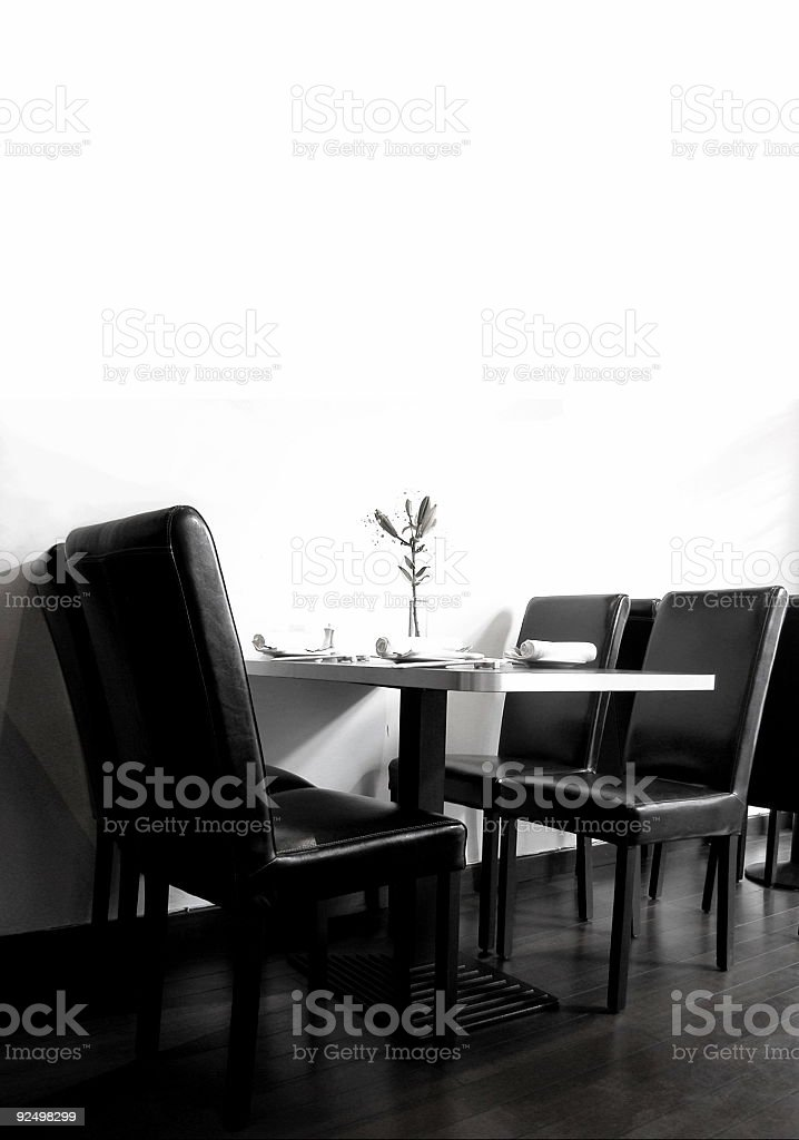 Table & Chairs black and white royalty-free stock photo