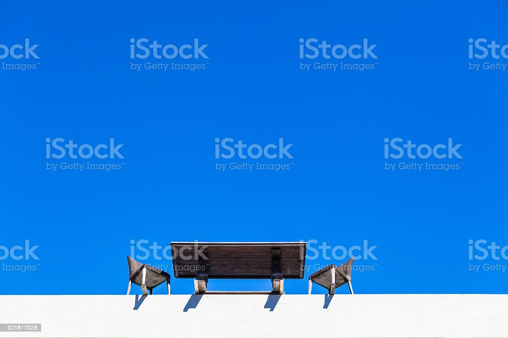 Table Chairs Building Edge stock photo