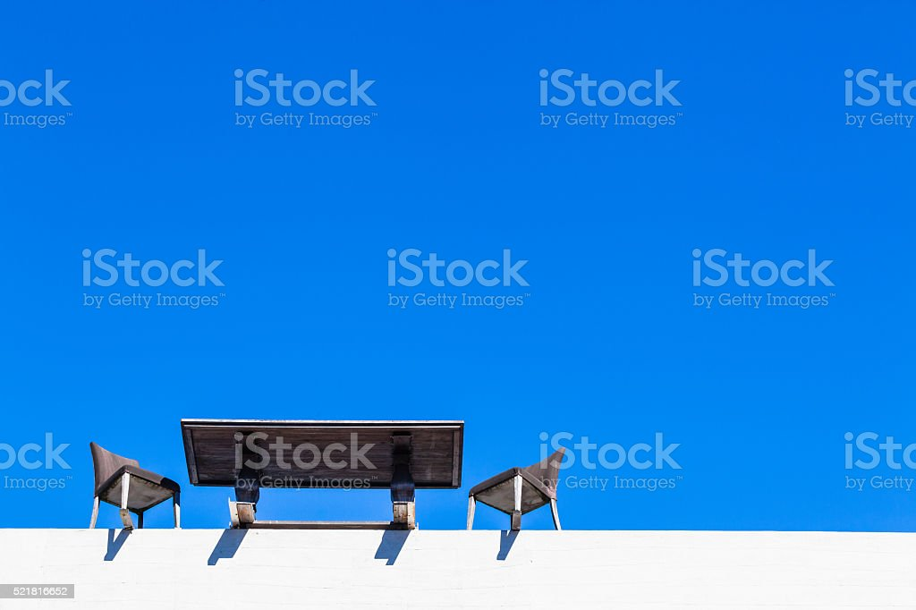 Table Chairs Edge Building stock photo