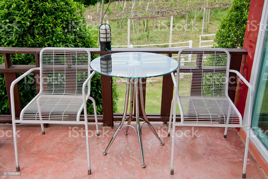 Table & Chairs on Patio stock photo