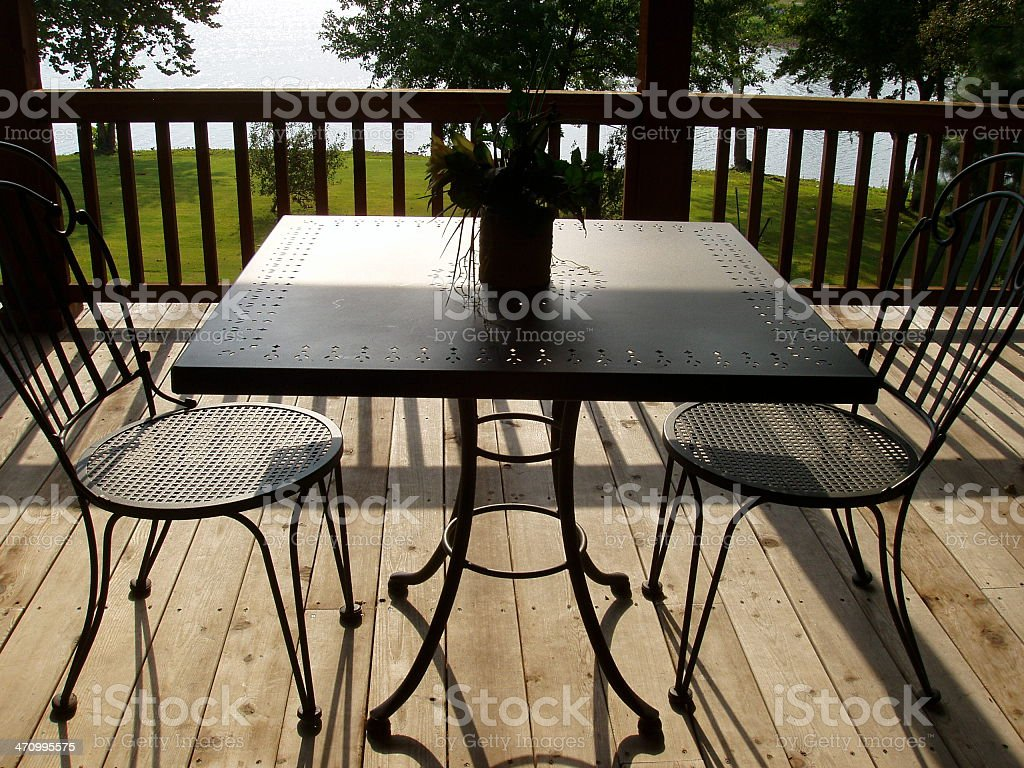Table & Chairs on Patio - Real Estate stock photo