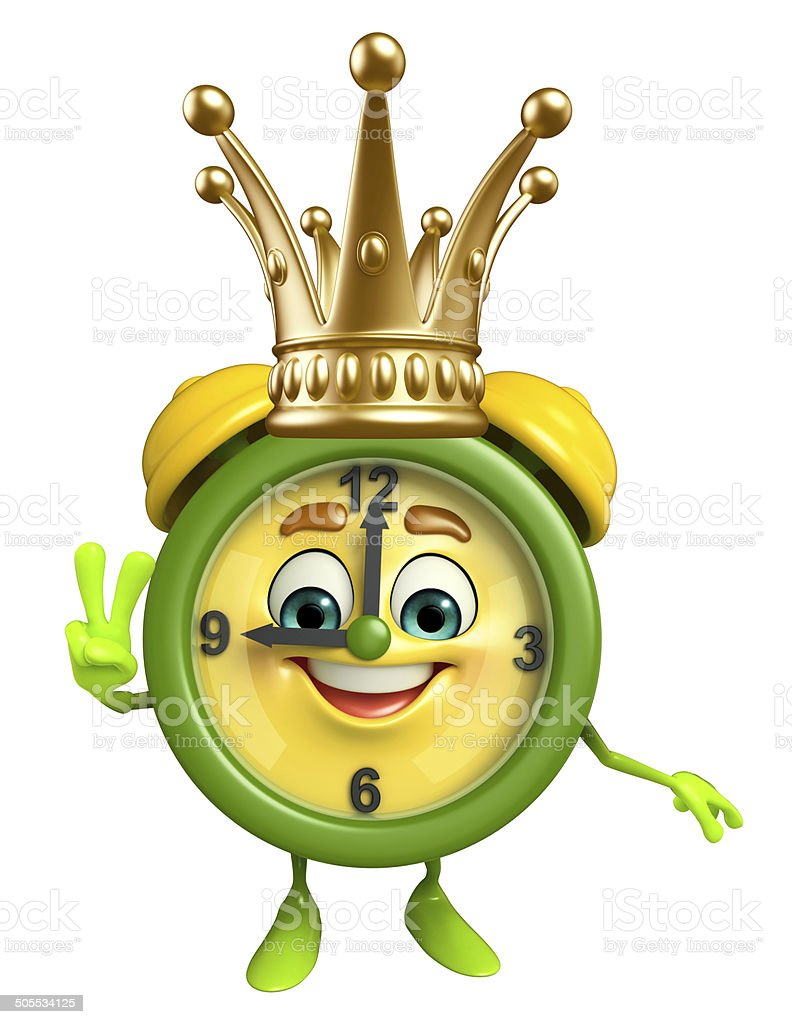 Table clock character with crown royalty-free stock photo