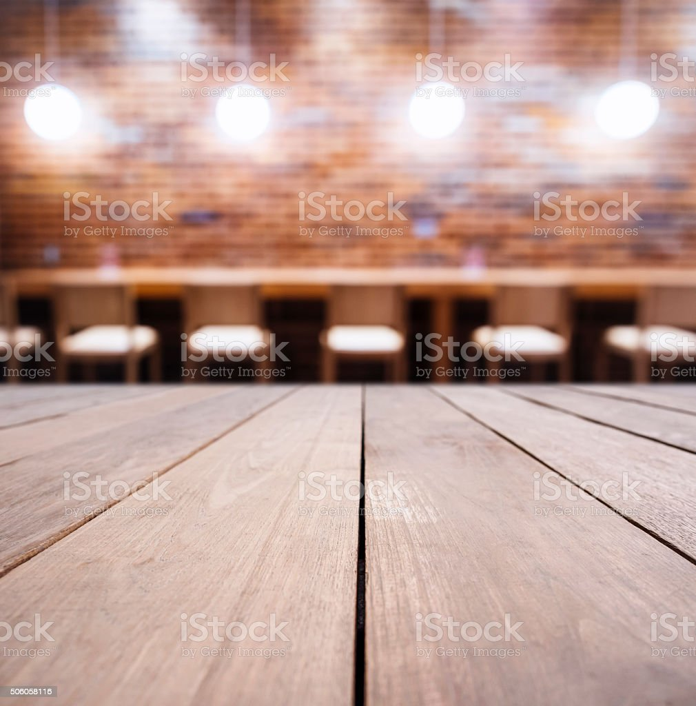 Table counter Bar Lights decoration Brick wall background stock photo