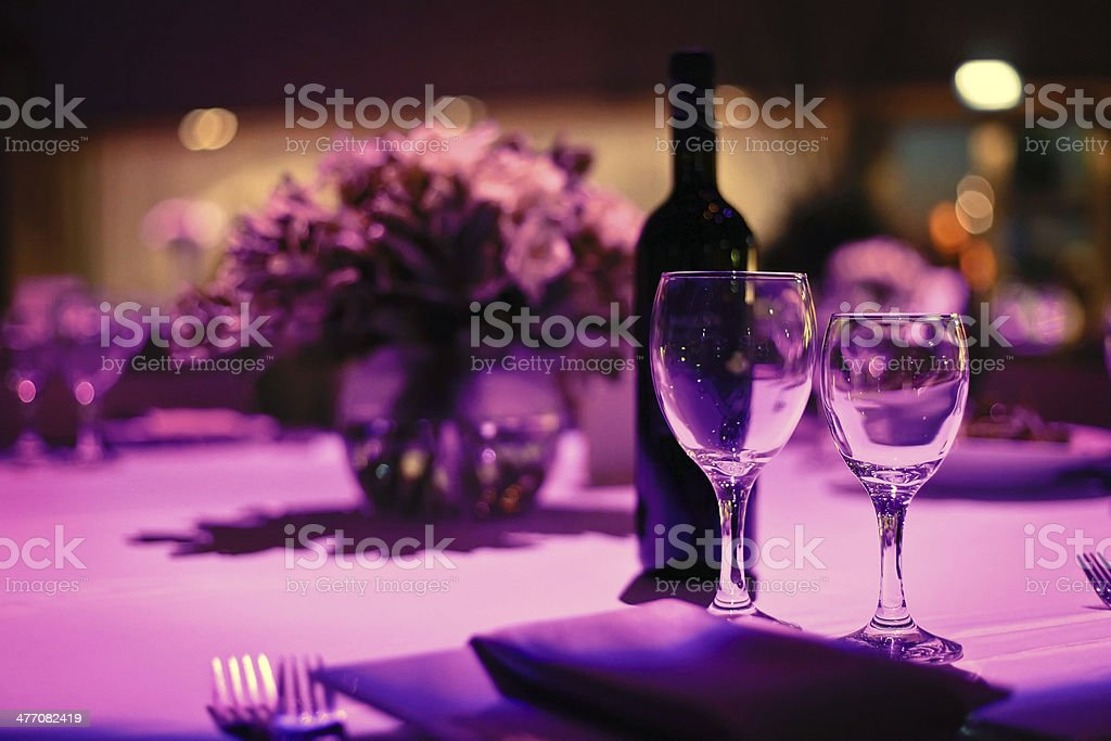 Table decorated romantic dinner for two. stock photo