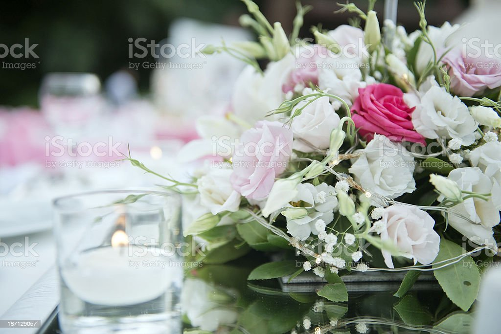 table decorated with the organization royalty-free stock photo