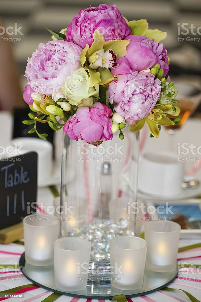 Table decoration flowers and candels royalty-free stock photo