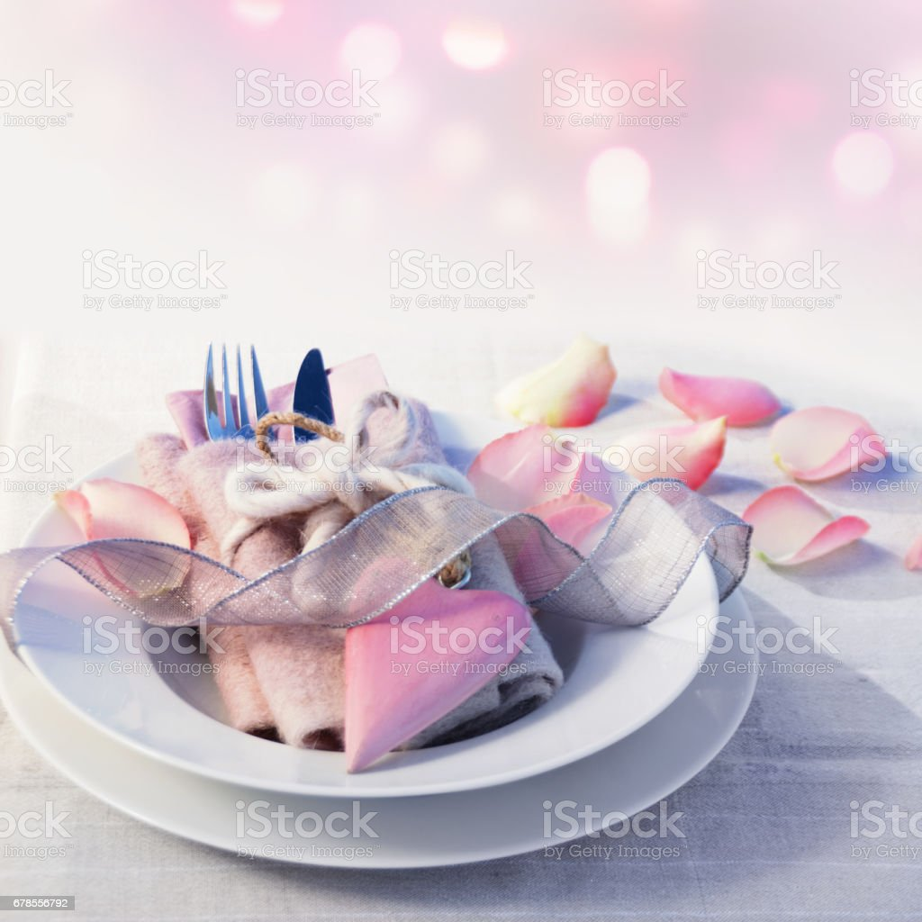 Table decoration for a mothers day dinner stock photo