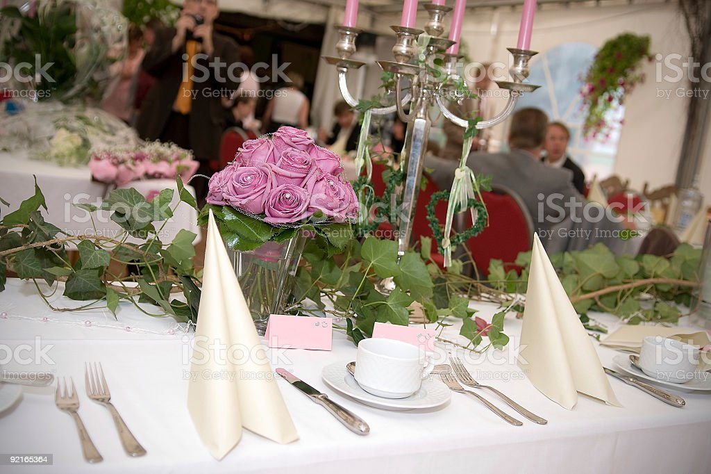 Table decoration on a wedding party royalty-free stock photo