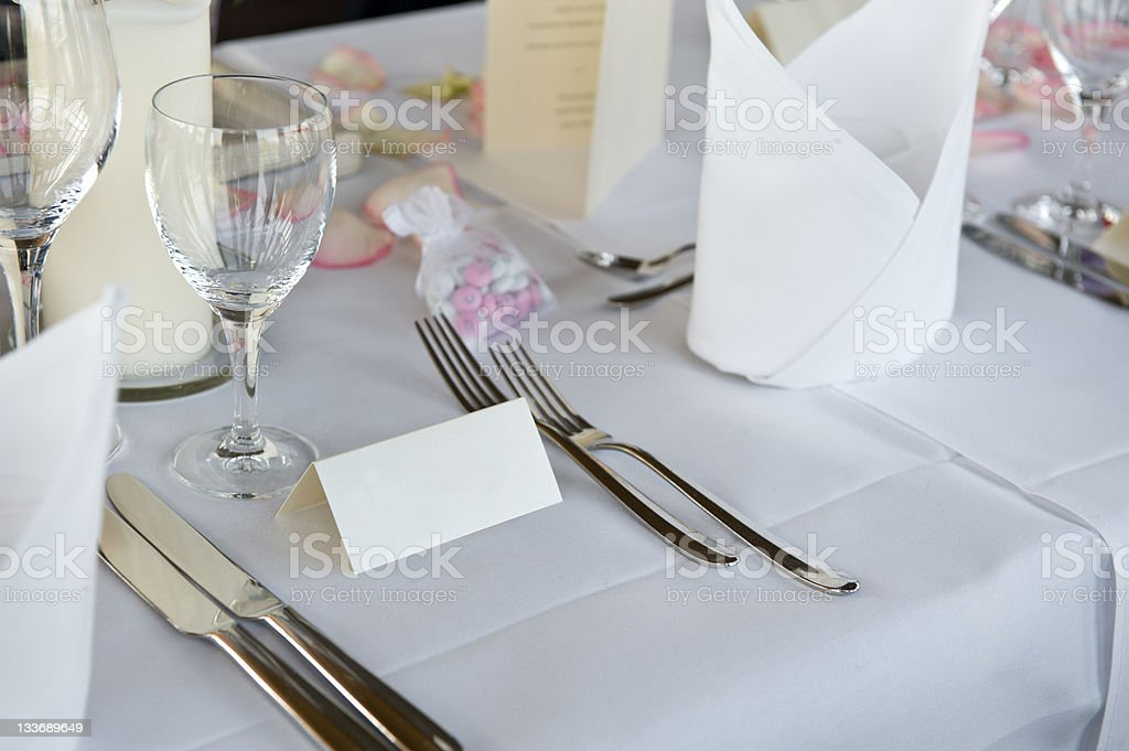 Table decoration on a wedding party with blank place card royalty-free stock photo