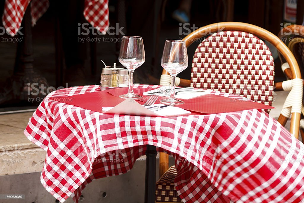 Table dressed for lunch in Paris stock photo