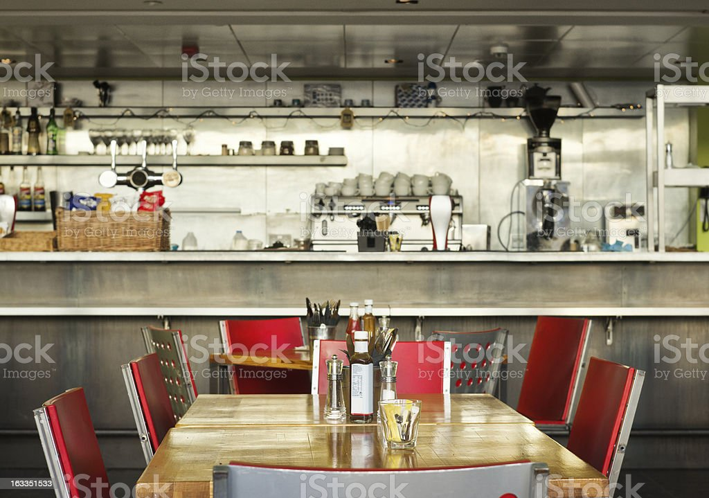 Table, English diner with bar, indoor stock photo