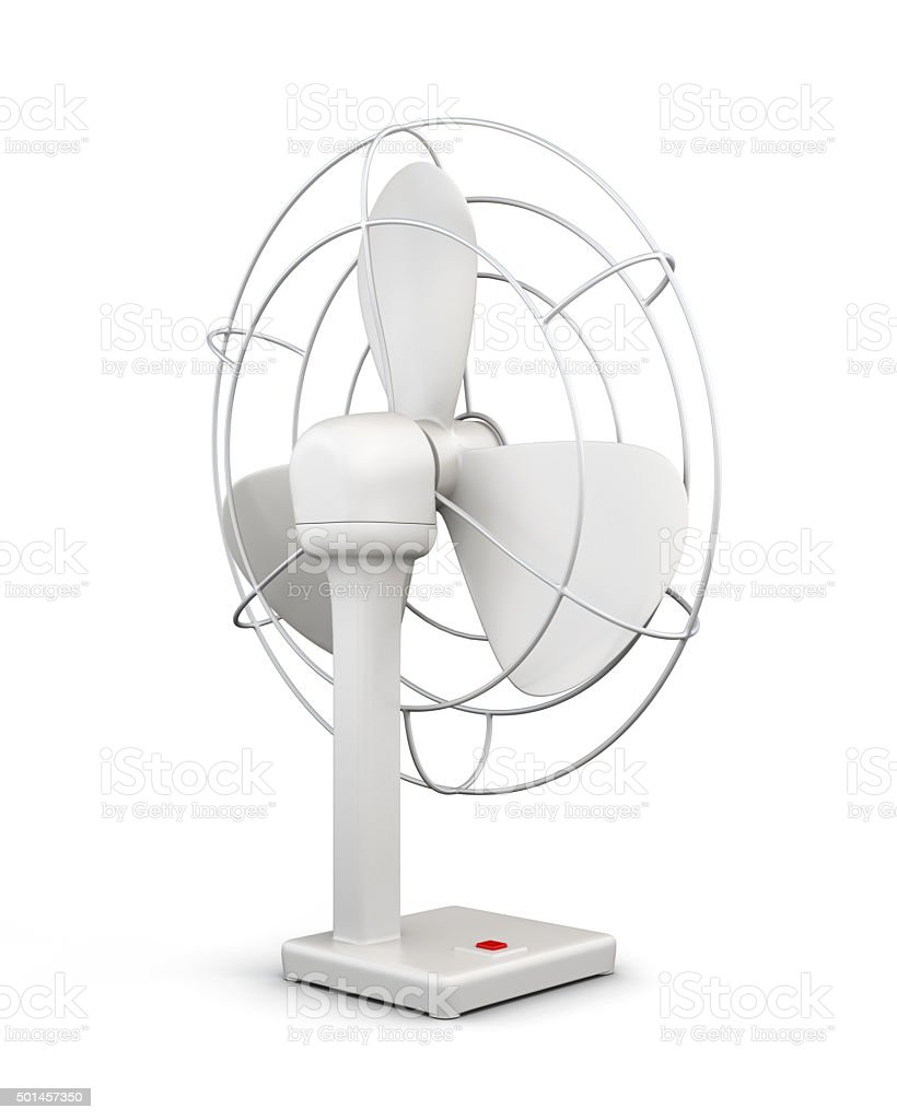 Table fan isolated on white background. 3d. stock photo