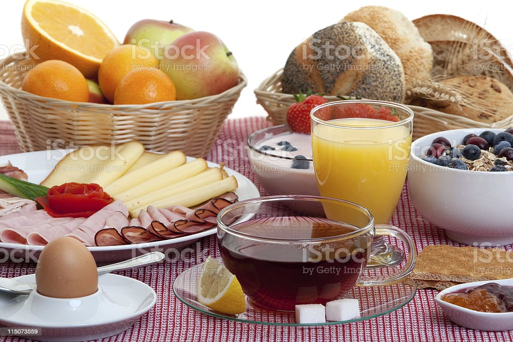 A table filled with classic breakfast essentials stock photo