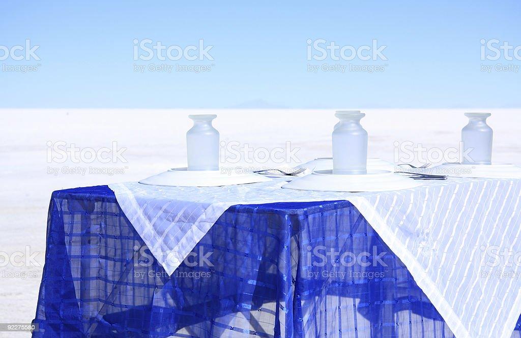 Table for lunch in Salar de Uyuni stock photo