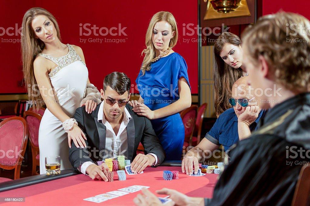 Table for poker gambling stock photo