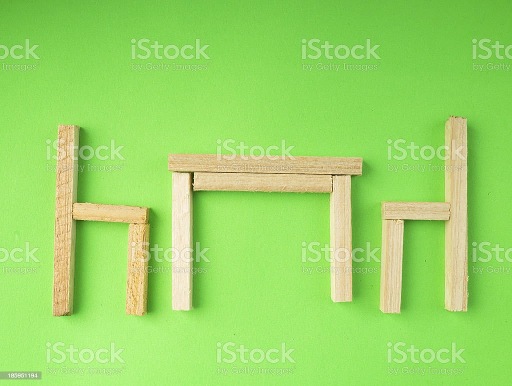 table for two  made of wooden blocks royalty-free stock photo