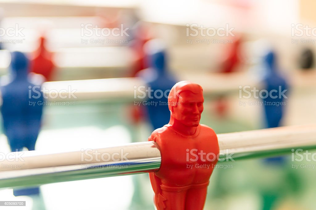 AAA table fotball player in selective focus stock photo
