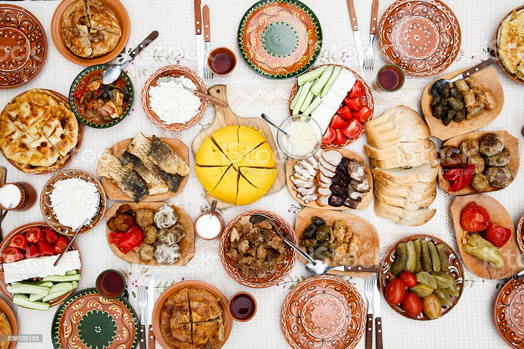Table full of homemade moldavian food view from above stock photo