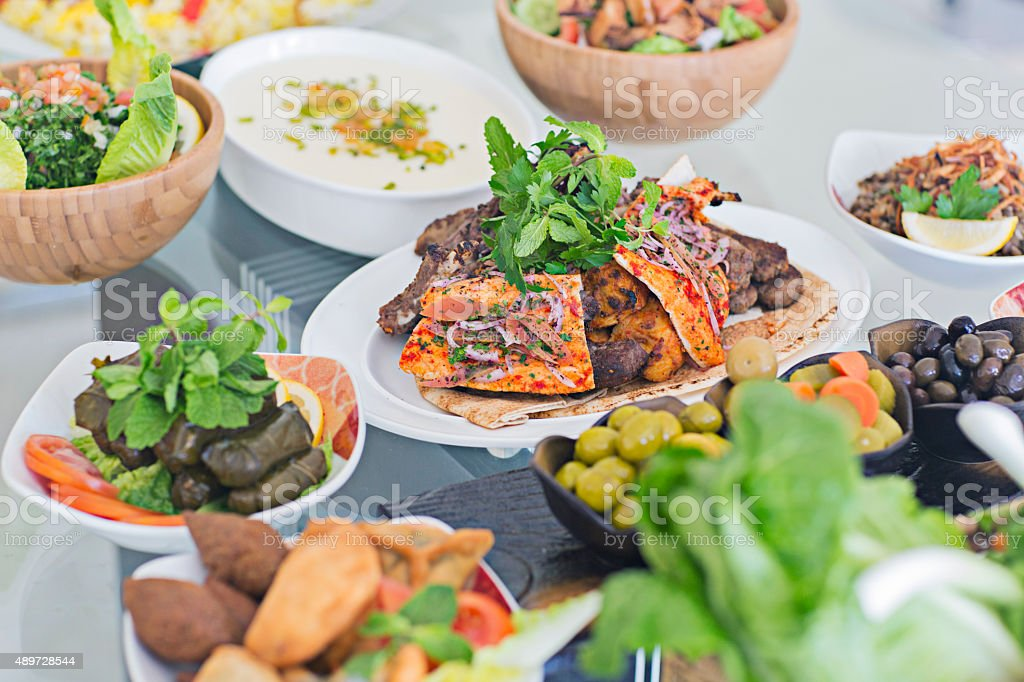 Table full of Mezze stock photo