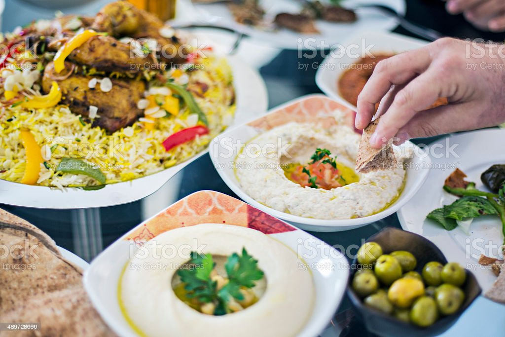 Table full of Mezze stock photo