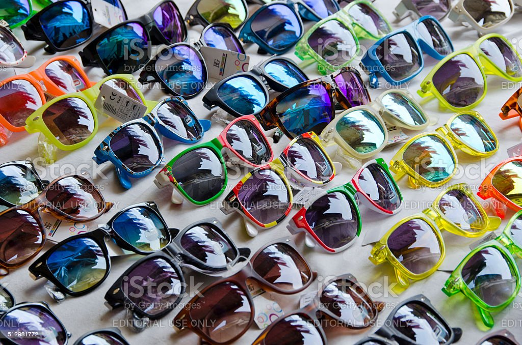 Table Full of Sunglasses stock photo