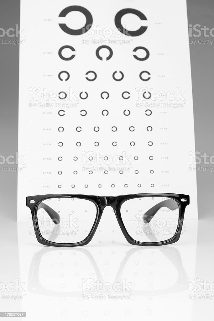 Table Golovin and glasses eye examination. On a gray background. royalty-free stock photo