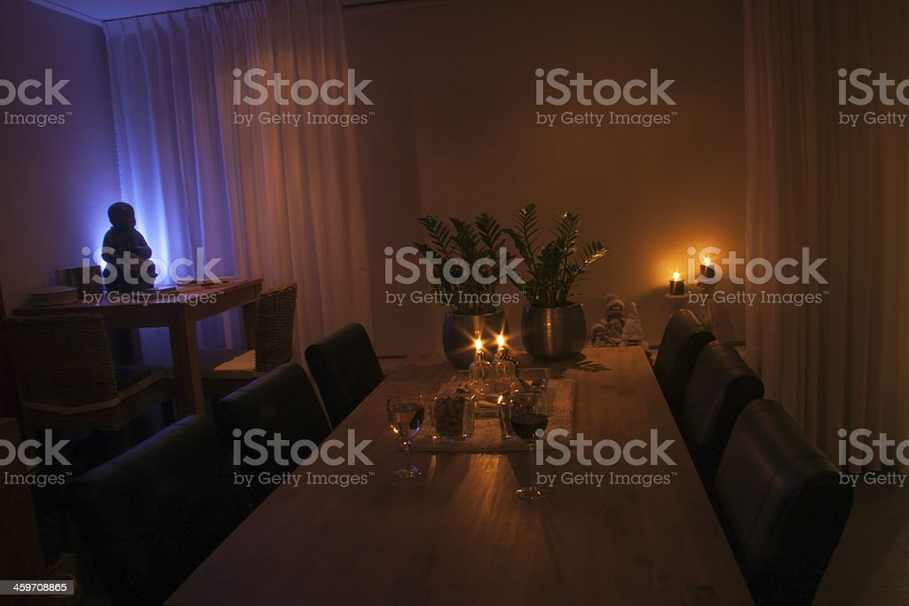 table in a chamber with romantic candle stock photo