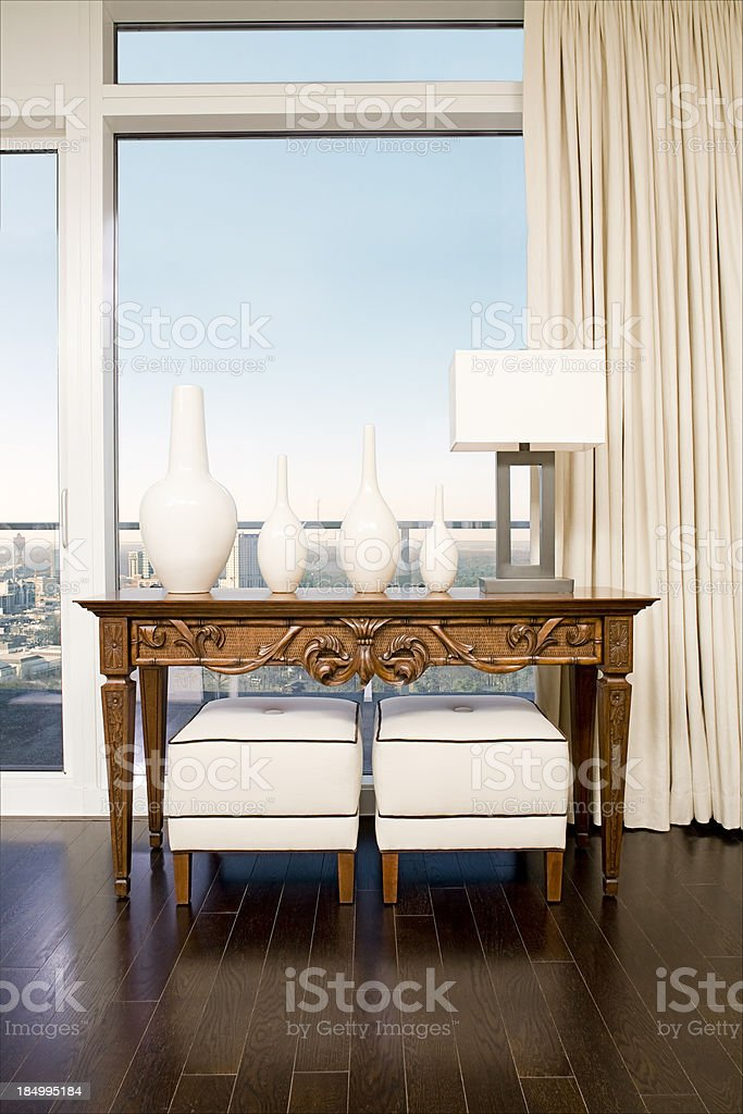 Table in a high rise condo. royalty-free stock photo