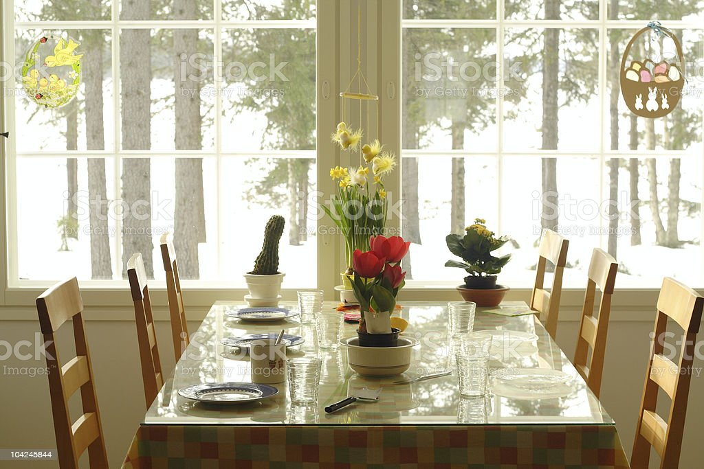 Table in a home decorated for Easter royalty-free stock photo
