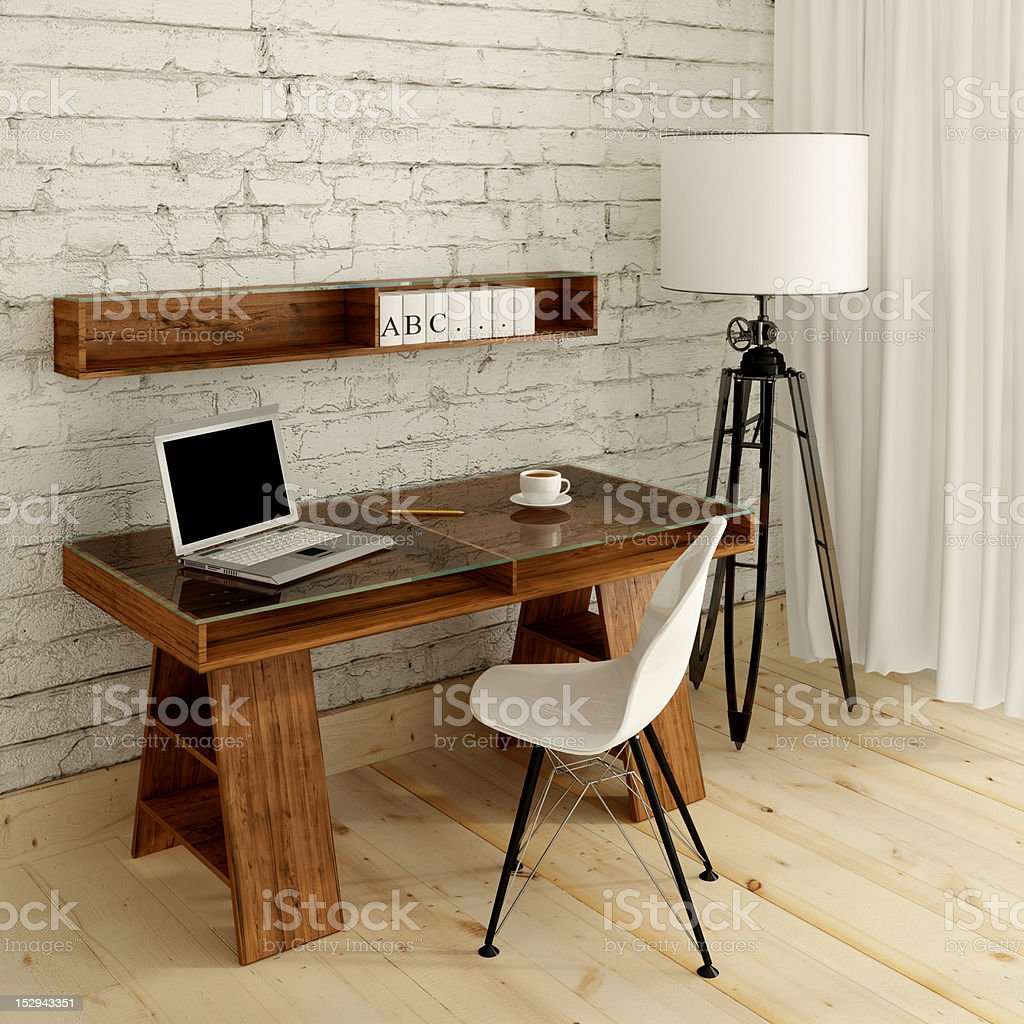 table in bright room stock photo