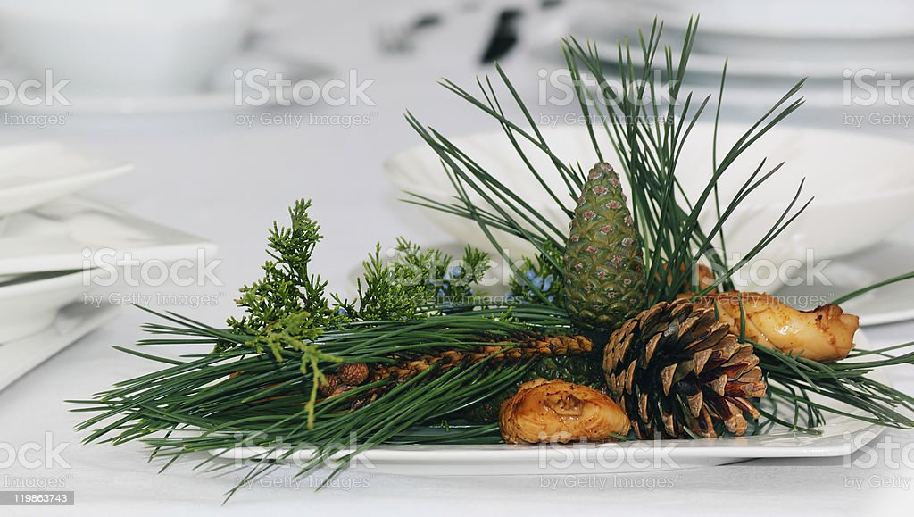 Table in Christmas for a family dinner stock photo