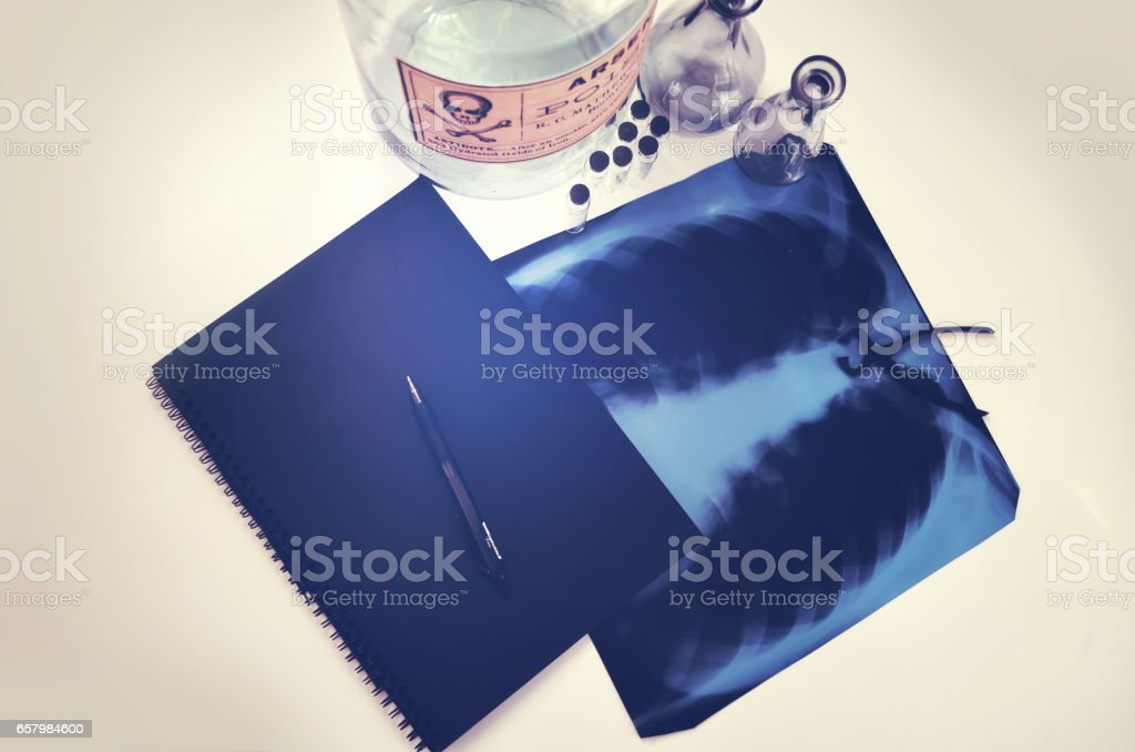 table in medical laboratory, poison, X-ray stock photo