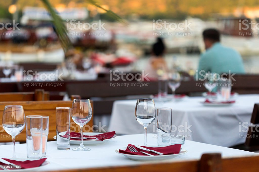 Table in outside restourant stock photo
